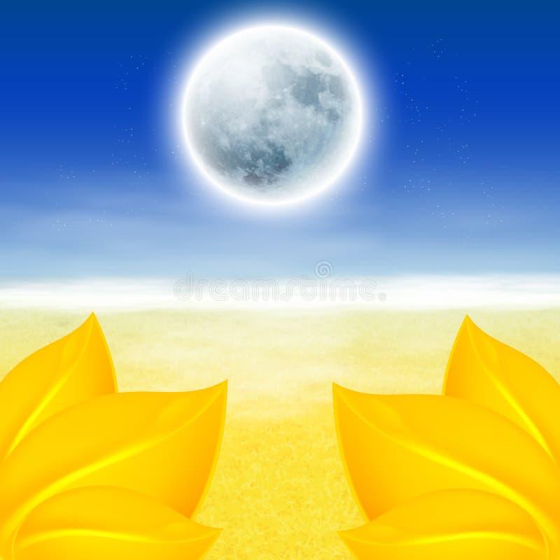 Fondo del otoño con la Luna Llena libre illustration