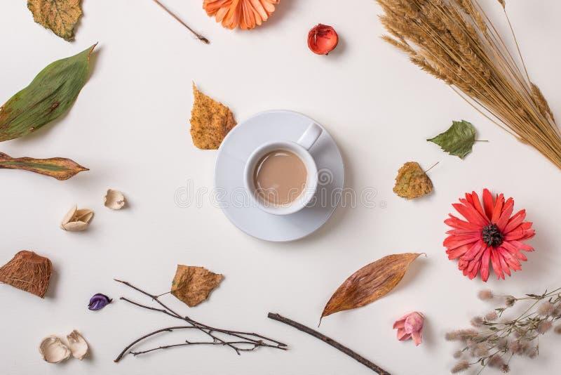 Fondo del otoño con la taza de café foto de archivo