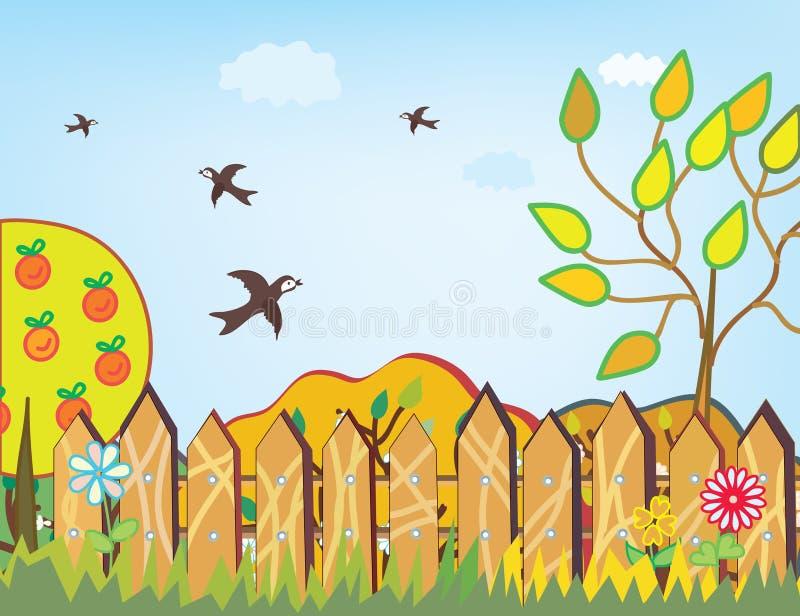 Fondo del otoño con los pájaros ilustración del vector