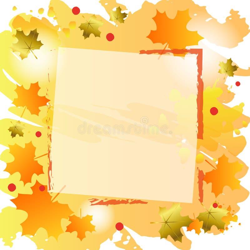Fondo del otoño en la naranja adornada con las hojas de arce y el marco anaranjados y de oro stock de ilustración