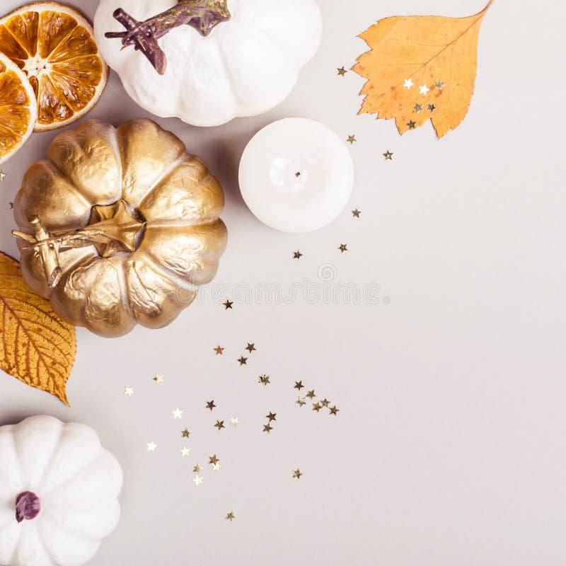 Fondo del otoño o del día de la acción de gracias Composición de hojas, de calabazas de oro y de placeres de las estrellas del co imagen de archivo
