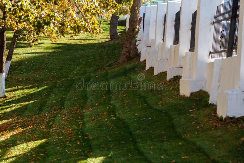 Fondo del oto?o Jardín del otoño con las hojas caidas en la hierba verde, y una cerca blanca en un día soleado imágenes de archivo libres de regalías
