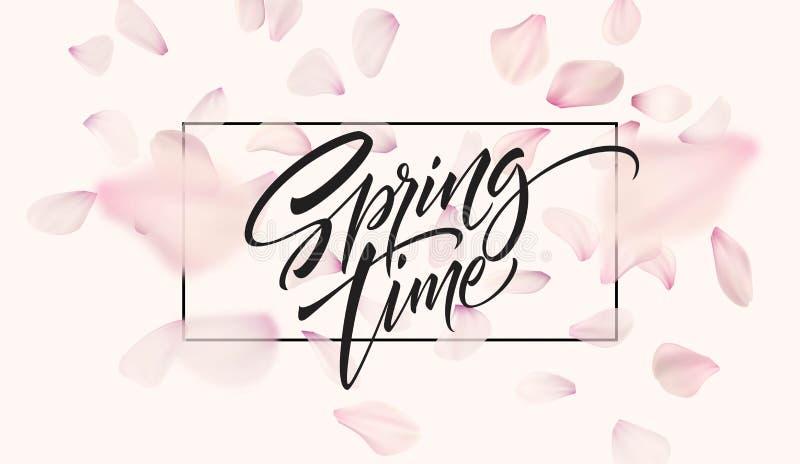 Fondo del pétalo de la flor de cerezo con las letras del tiempo de primavera Ilustración del vector stock de ilustración