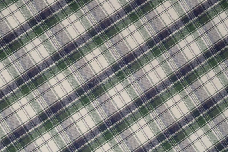 Fondo del paño verde, blanco y negro de la tela escocesa fotos de archivo