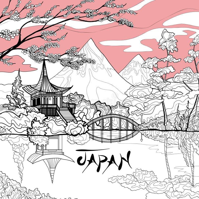 Fondo del paesaggio del Giappone illustrazione vettoriale