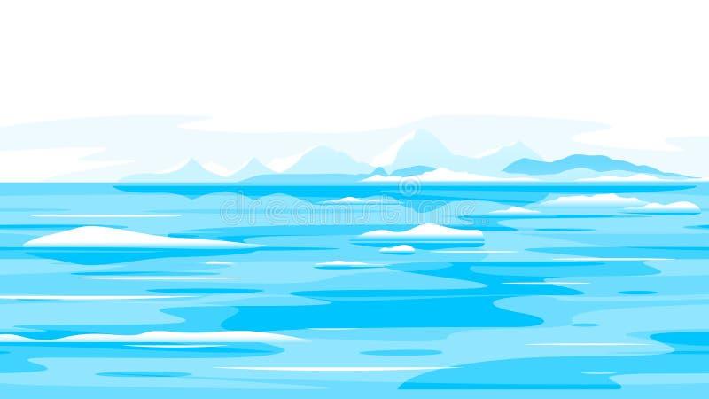 Fondo del paesaggio della natura dei ghiacciai di fusione illustrazione vettoriale
