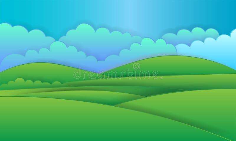 Fondo del paesaggio della natura, progettazione di carta cuted illustrazione vettoriale