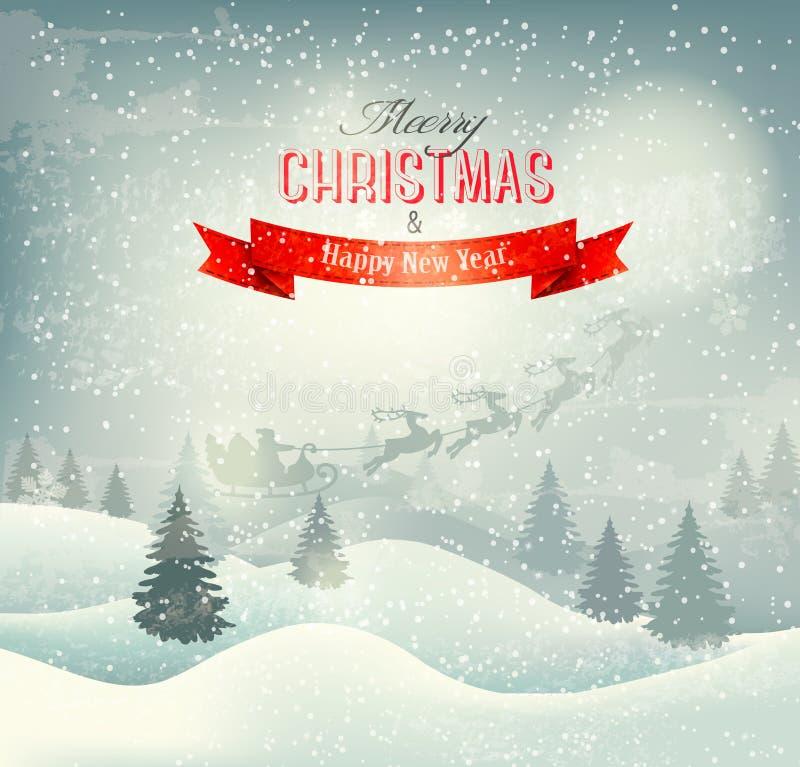 Fondo del paesaggio di inverno di Natale con Santa s illustrazione di stock