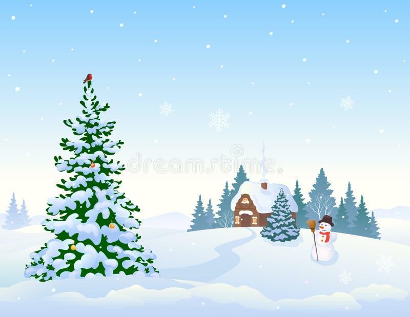 Fondo del paesaggio di inverno ed albero di Natale illustrazione vettoriale