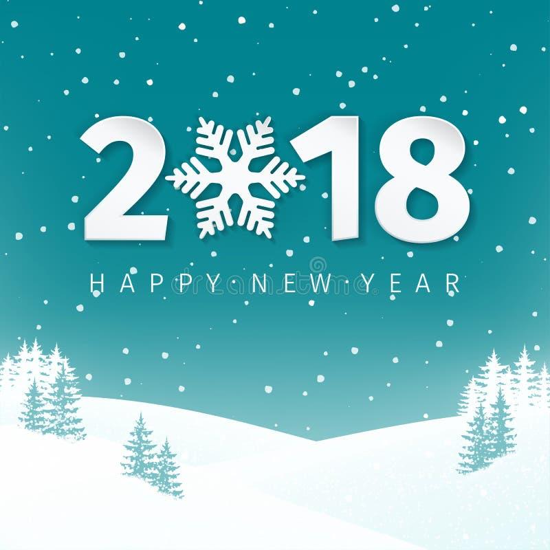 Fondo del paesaggio di scena di inverno di notte con il campo e gli abeti nevosi Numeri del buon anno 2018 con il fiocco di neve illustrazione di stock