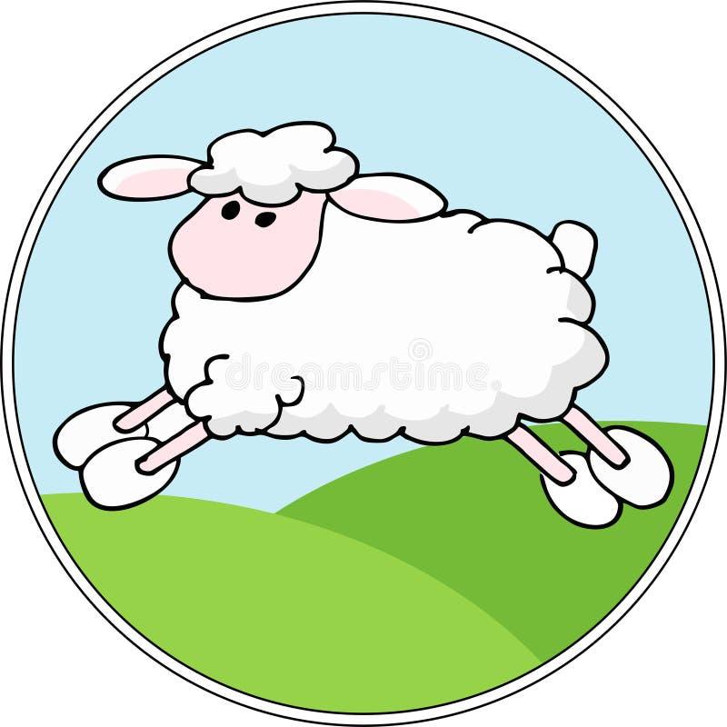 Fondo del paesaggio del quadro televisivo con le pecore del fumetto Illustrazione illustrazione di stock