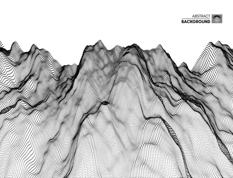 Fondo del paesaggio terreno Griglia del Cyberspace illustrazione di vettore di tecnologia 3d con la particella illustrazione vettoriale