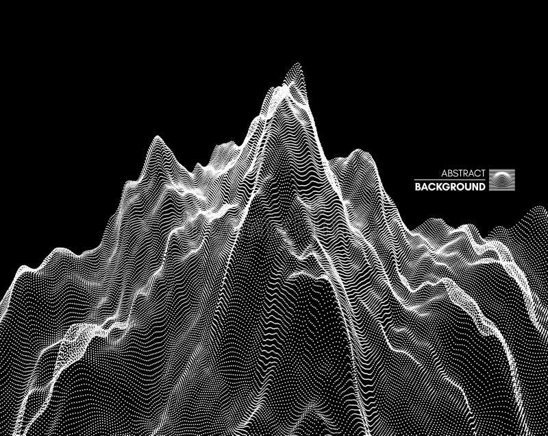 Fondo del paesaggio terreno Griglia del Cyberspace illustrazione di vettore di tecnologia 3d con la particella royalty illustrazione gratis