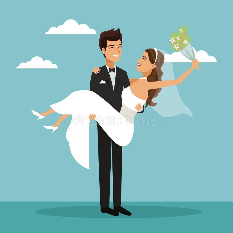 Fondo del paisaje del cielo del color con el novio nuevamente casado de la pareja que lleva a la novia y a ella con la flor del r ilustración del vector