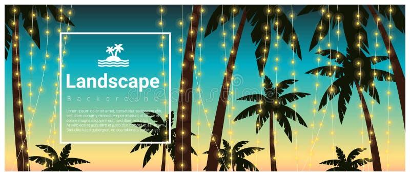 Fondo del paisaje con las palmeras en el partido tropical de la playa libre illustration