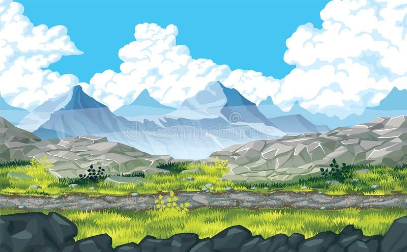 Fondo del paisaje con las rocas y las montañas ilustración del vector