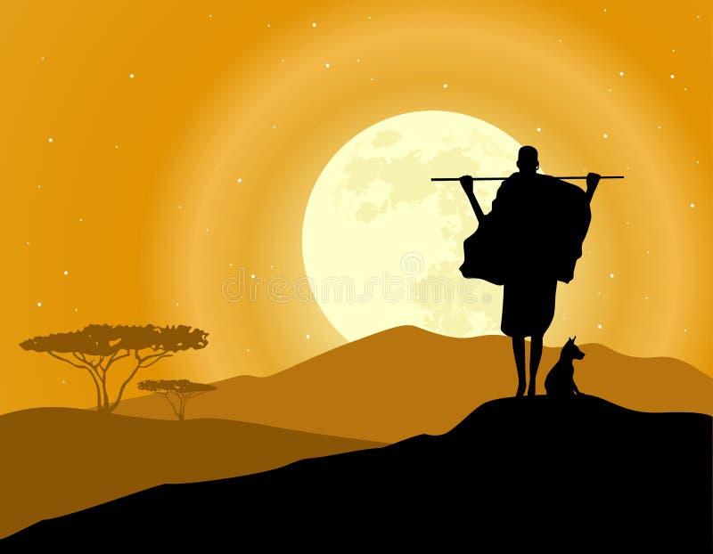 Fondo del paisaje de África Siluetas del cazador, animales y subida de la luna Sabana africana ilustración del vector