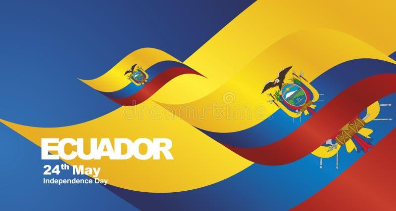 Fondo del paisaje de la cinta de la bandera del Día de la Independencia de Ecuador libre illustration