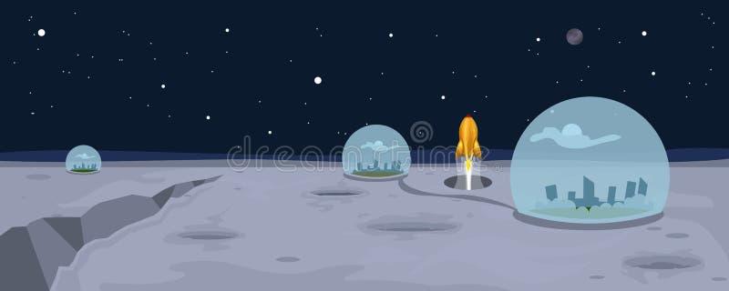 Fondo del paisaje de la luna stock de ilustración