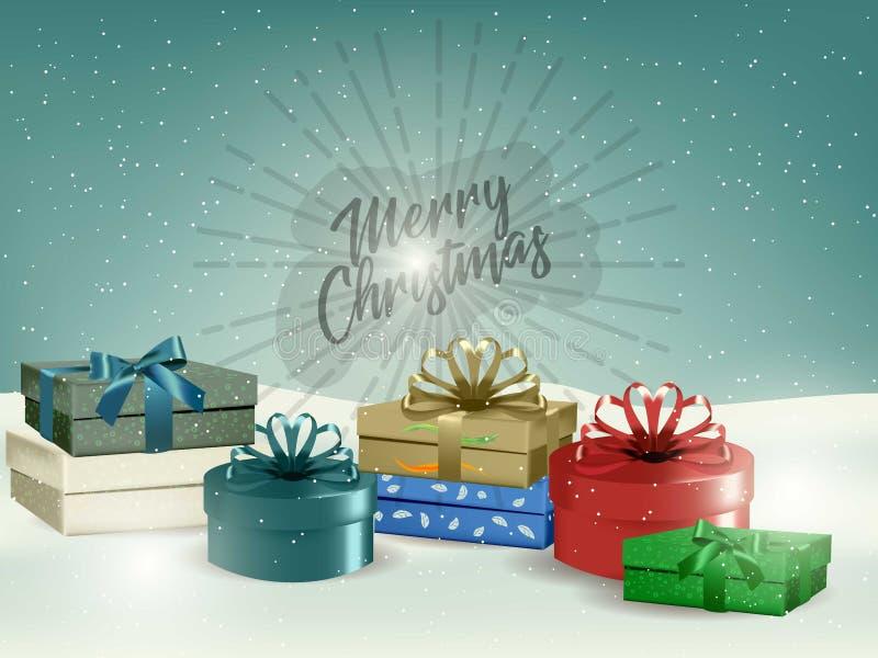 Fondo del paisaje de la Navidad del día de fiesta con los fuegos artificiales y el copyspace de una caja de regalo Año Nuevo Dise ilustración del vector