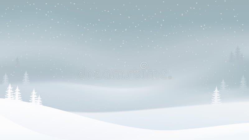 Fondo del paisaje de la tarde del invierno del día de fiesta con nieve que cae y árboles en la niebla ilustración del vector