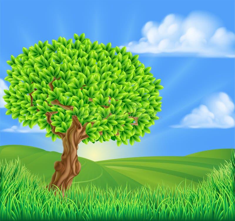 Fondo del paisaje de Rolling Hills del árbol ilustración del vector