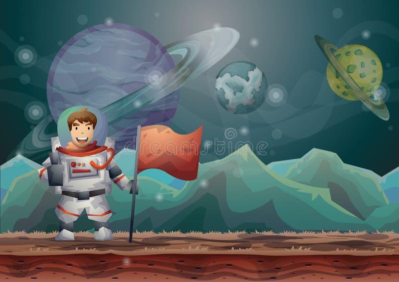 Fondo del paisaje del espacio de vector de la historieta con capas separadas libre illustration