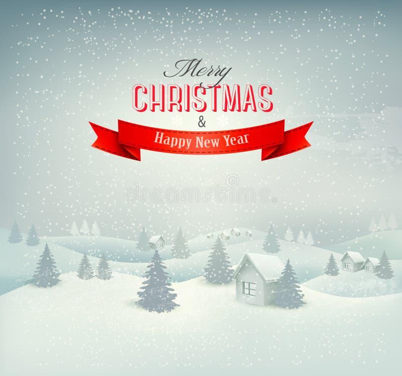 Fondo del paisaje del invierno de la Navidad. ilustración del vector