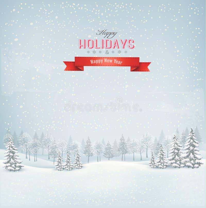 Fondo del paisaje del invierno de la Navidad. stock de ilustración