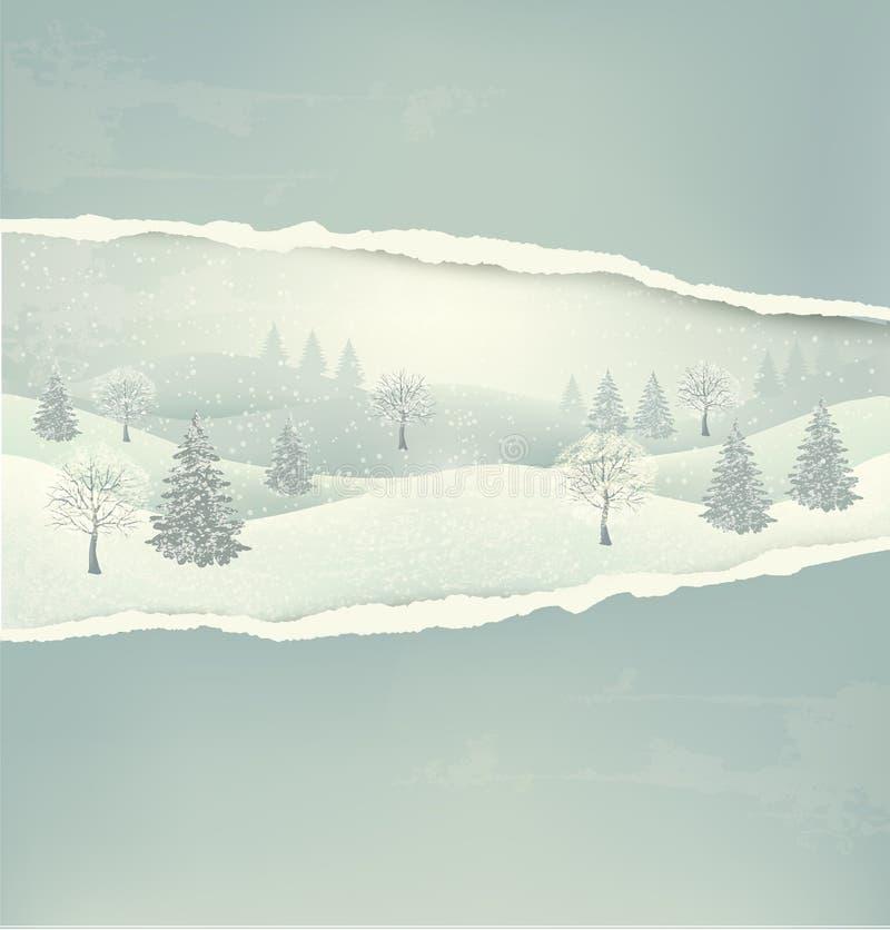 Fondo del paisaje del invierno de la Navidad con rasgado  libre illustration