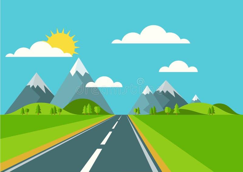 Fondo del paisaje del vector Camino en el valle verde, montañas, hola ilustración del vector