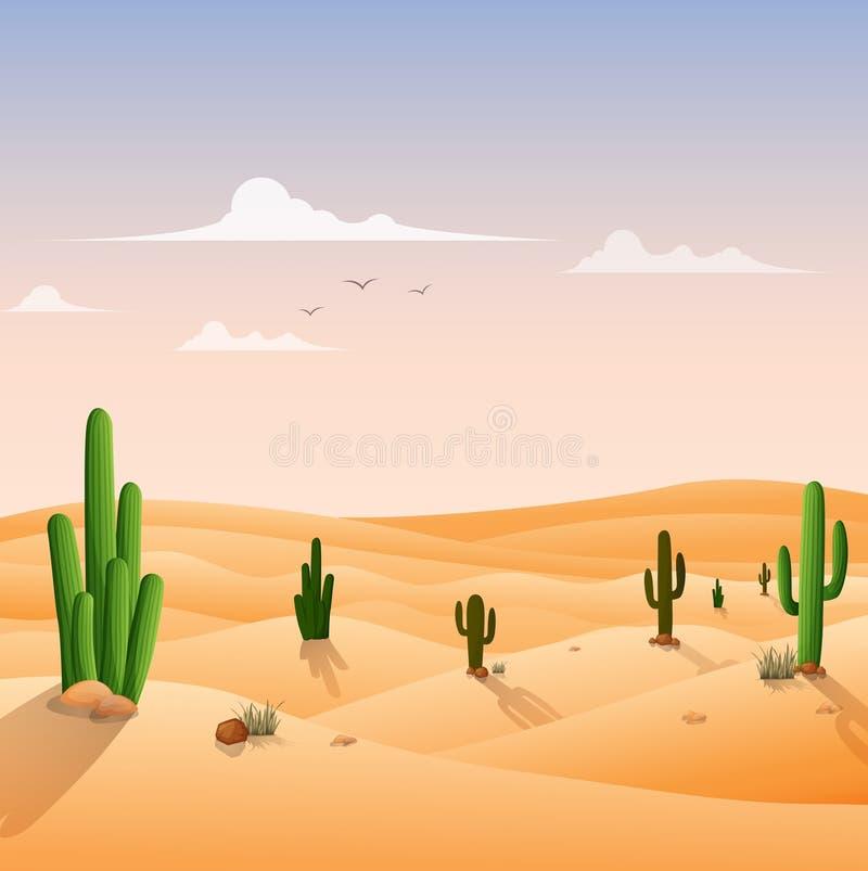 Fondo del paisaje del desierto con los cactus ilustración del vector
