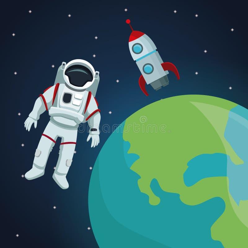 Fondo del paisaje del espacio de color con el astronauta y el cohete con vista al planeta de la tierra ilustración del vector