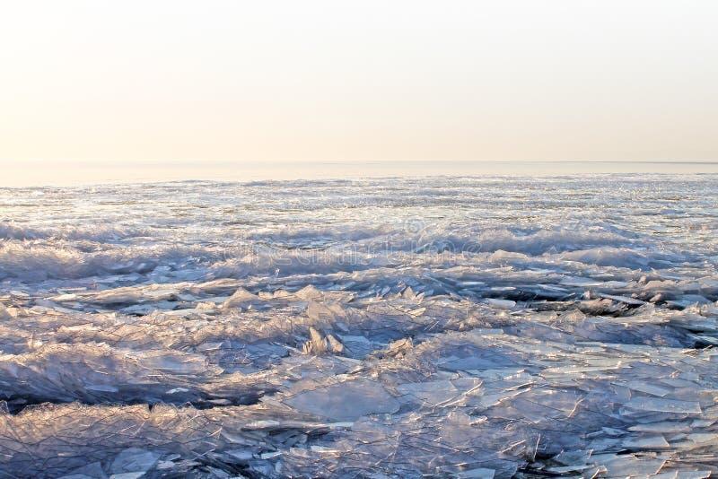 Fondo del paisaje del hielo Textura del hielo Hungría, lago Balaton imágenes de archivo libres de regalías