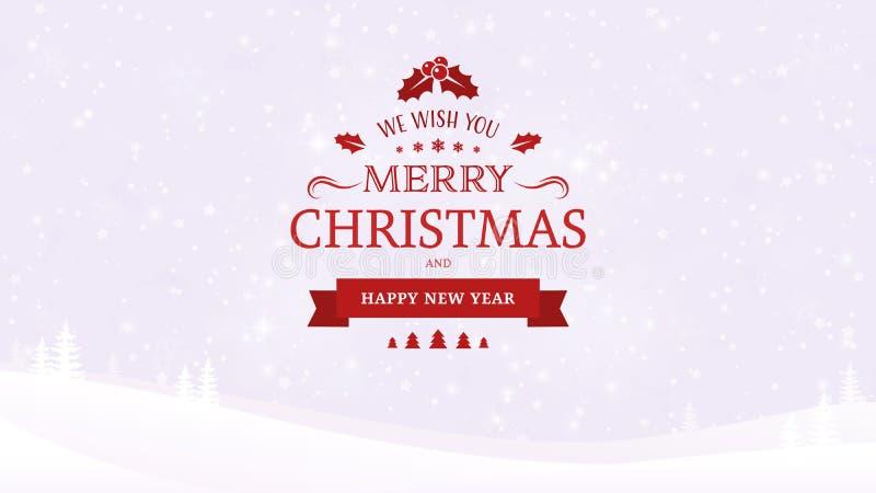 Fondo del paisaje del invierno con los árboles El vintage tipográfico de la Navidad y del Año Nuevo badge en el fondo de la luz s libre illustration