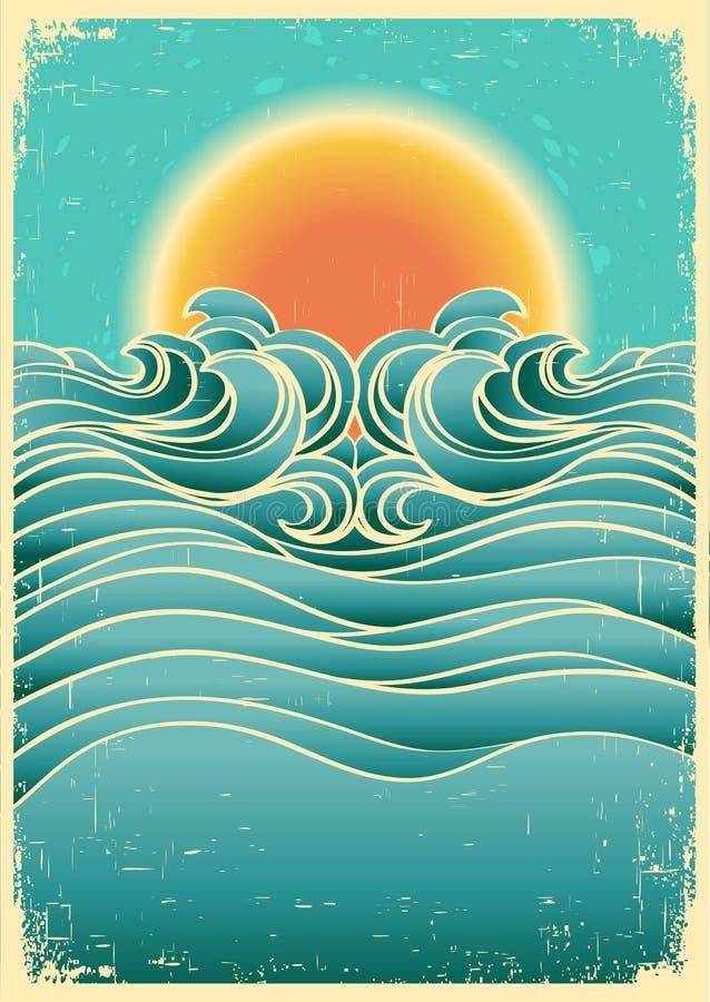 Fondo del paisaje marino de la naturaleza del vintage con la luz del sol o libre illustration
