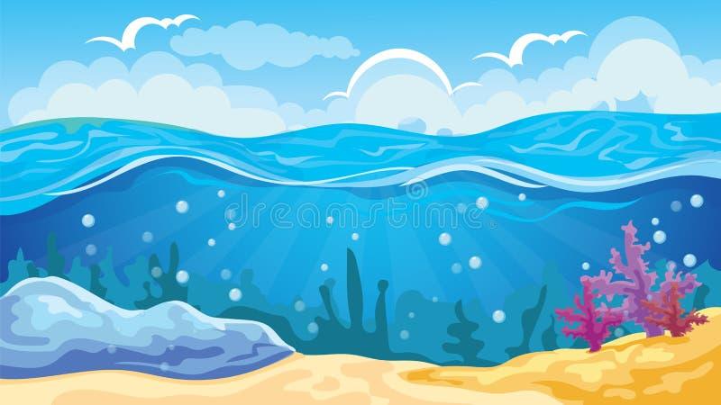 Fondo del paisaje marino del juego ilustración del vector