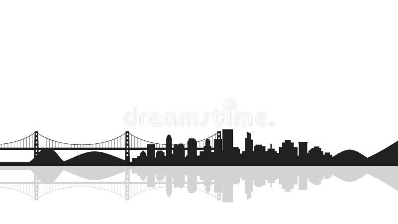 Fondo del paisaje urbano con el puente, silueta de la ciudad stock de ilustración