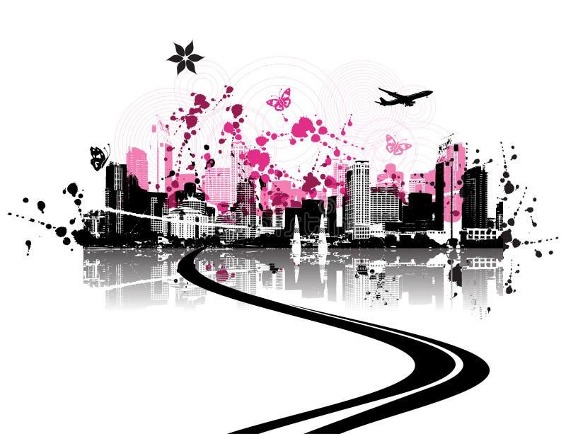 Fondo del paisaje urbano, urbano stock de ilustración