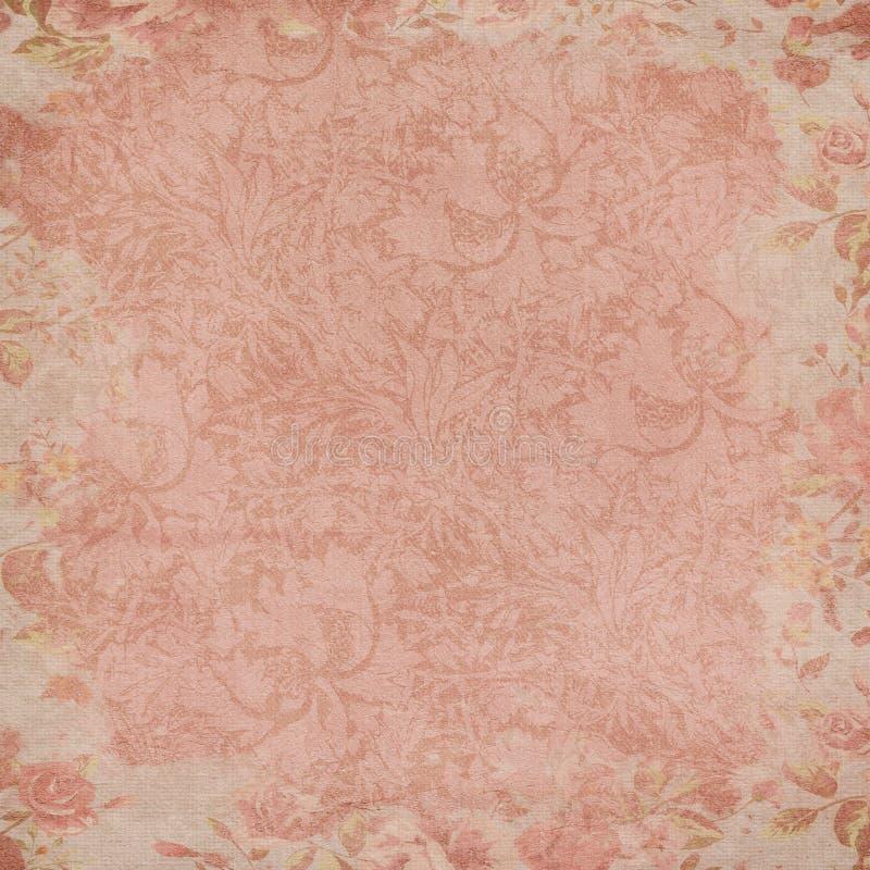 Fondo del papel del collage de las rosas del vintage - elementos florales apenados elegancia lamentable de las rosas del Grunge stock de ilustración