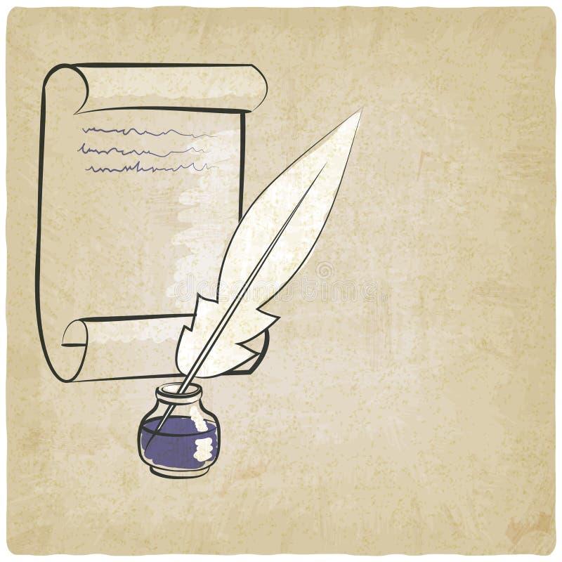 Fondo del papel de la pluma del tintero viejo stock de ilustración