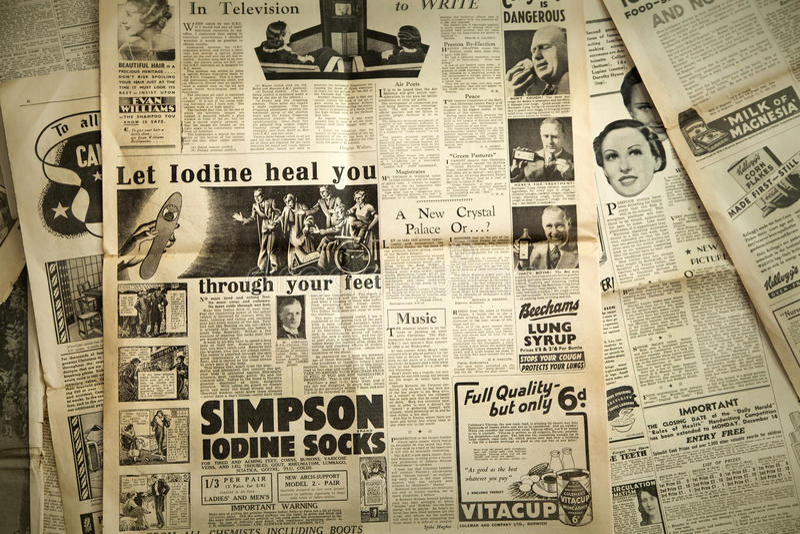 Fondo del papel de las noticias del vintage, Londres fotos de archivo
