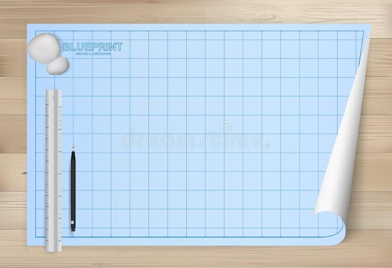 Fondo del papel de modelo para el dibujo arquitectónico con el fondo de madera libre illustration