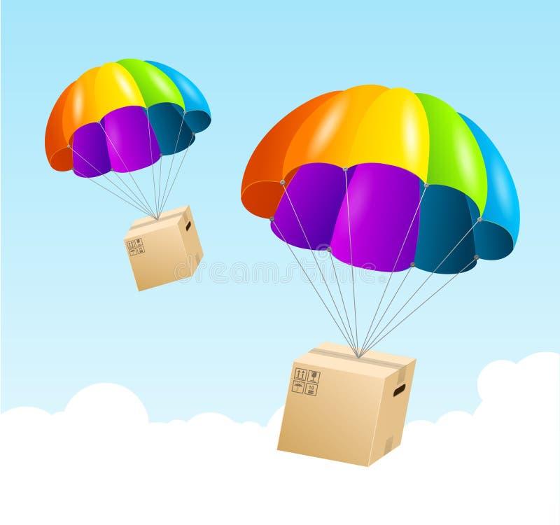 Fondo del paracaídas del vector. Concepto del envío del aire libre illustration