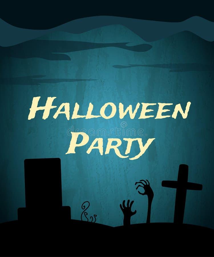 Fondo del partido de Halloween con el cementerio espeluznante y las manos muertas libre illustration
