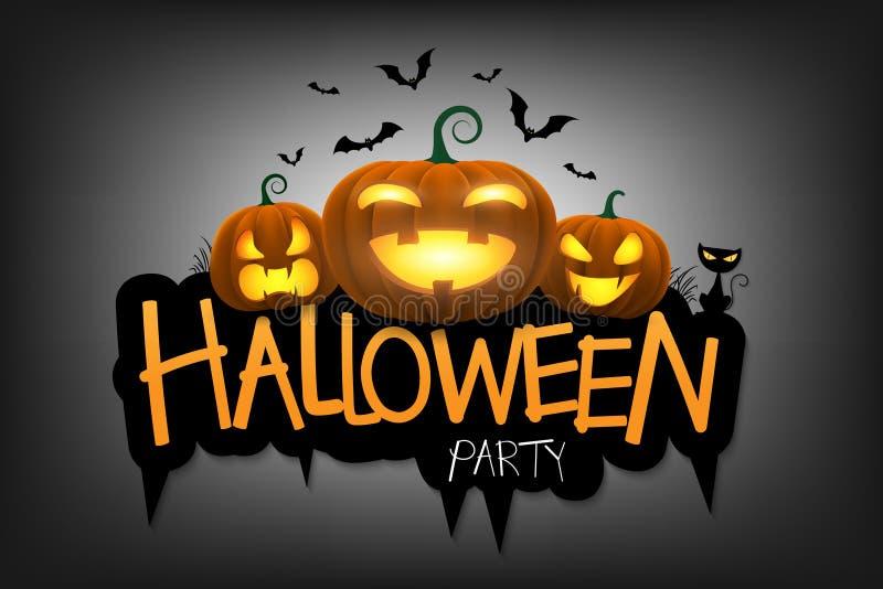 Fondo del partido de Halloween con la Jack-o-linterna bajo claro de luna stock de ilustración