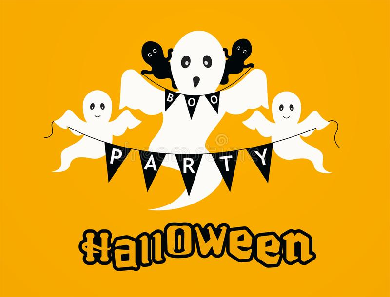 Fondo del partito di Halloween con i fantasmi Fondo felice dell'arancia della cartolina d'auguri di Halloween illustrazione di stock