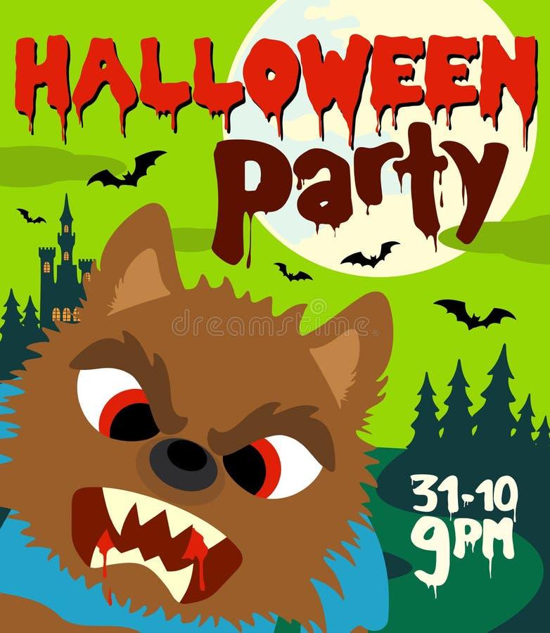 Fondo del partito di Halloween con il lupo mannaro illustrazione di stock