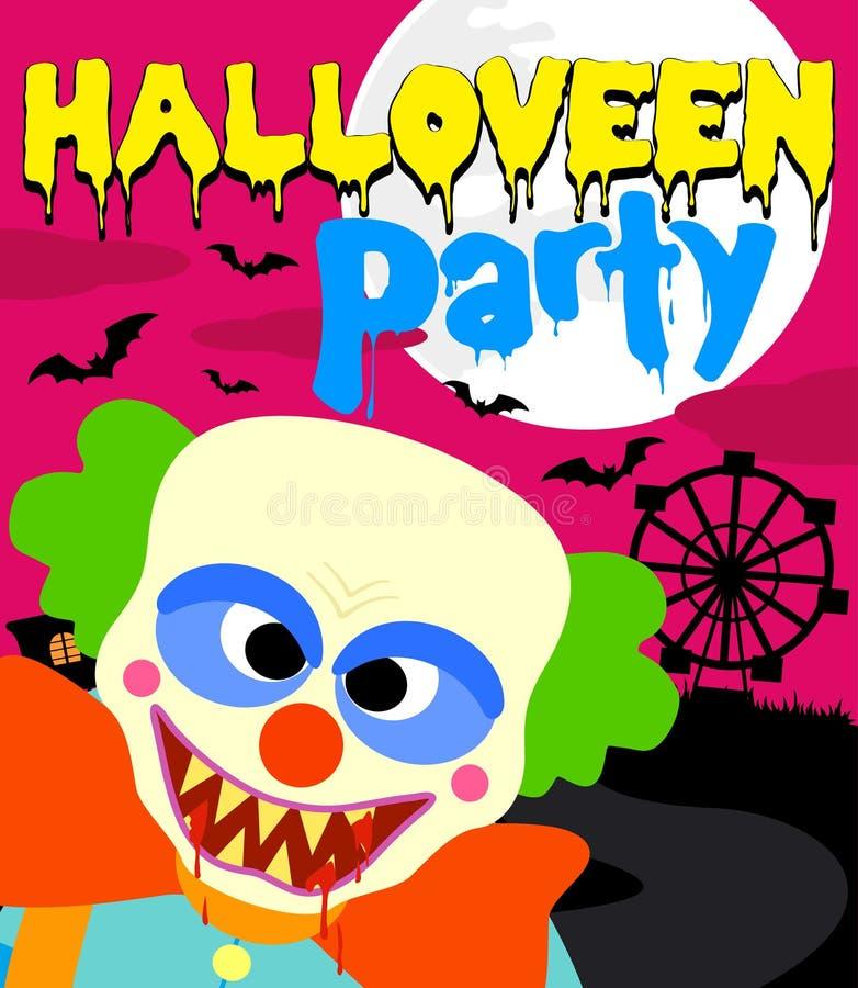 Fondo del partito di Halloween con il pagliaccio illustrazione vettoriale