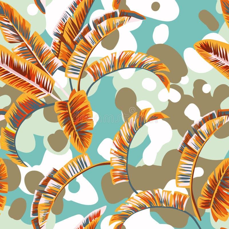 Fondo del pastel de las hojas de las plantas tropicales ilustración del vector